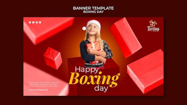 Szablon transparentu poziomego świątecznego dnia boksu