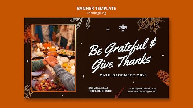 Szablon transparentu poziomego szczęśliwego dziękczynienia