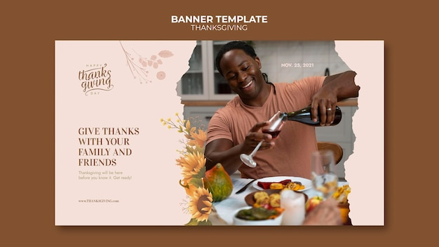 Szablon transparentu poziomego szczęśliwego święta dziękczynienia
