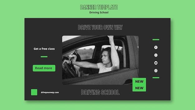 Szablon transparentu poziomego szkoły jazdy