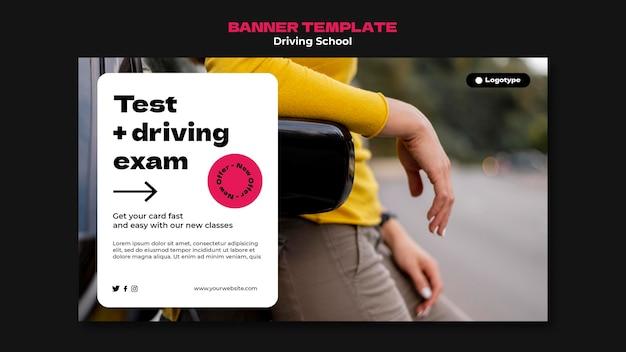 Szablon transparentu poziomego szkoły nauki jazdy