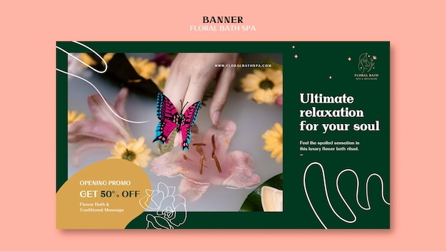 Szablon transparentu reklamy kwiatowy spa
