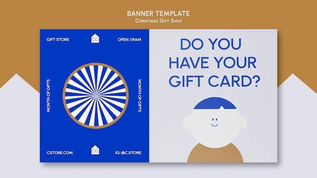 Szablon transparentu sklepu z prezentami w kolorze niebieskim i złotym