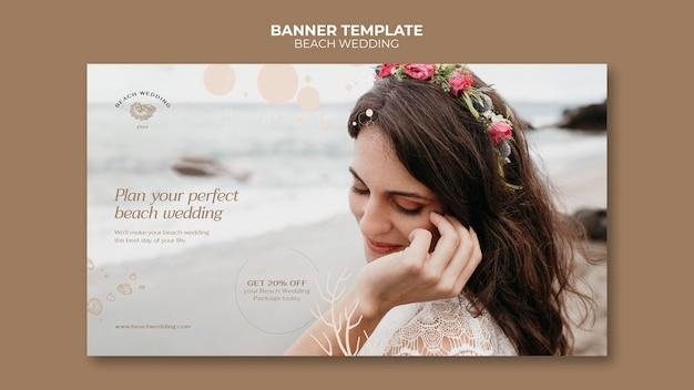 Szablon transparentu ślubu na plaży