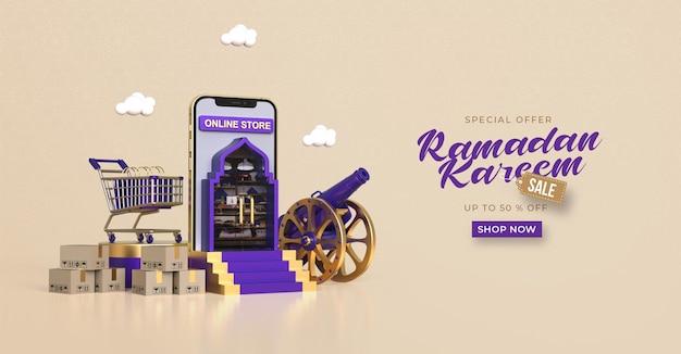Szablon transparentu sprzedaży ramadan kareem z zakupami online 3d w aplikacjach mobilnych