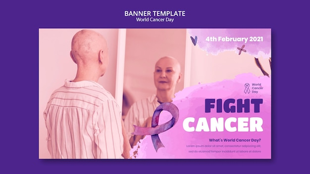 Szablon transparentu światowego dnia raka ze wstążką