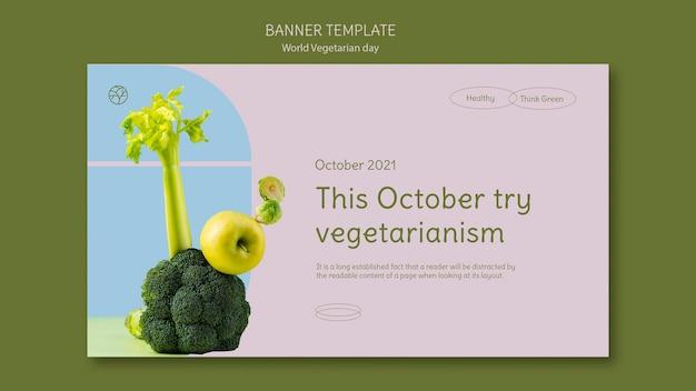 Szablon transparentu światowego dnia wegetariańskiego