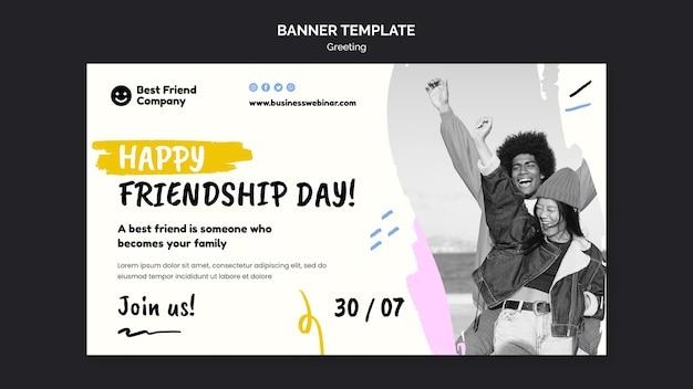Szablon transparentu szczęśliwego dnia przyjaźni