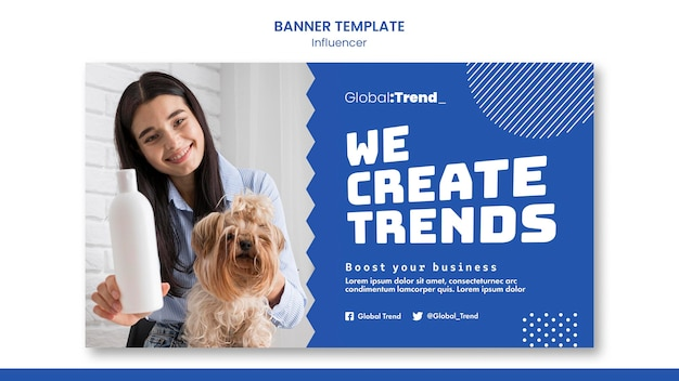 Szablon transparentu trendów influencer