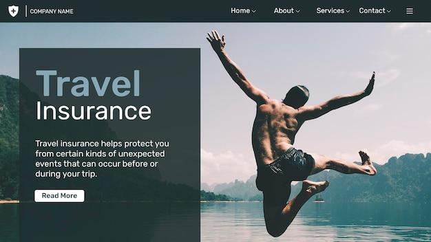 Szablon ubezpieczenia podróżnego psd z edytowalnym tekstem