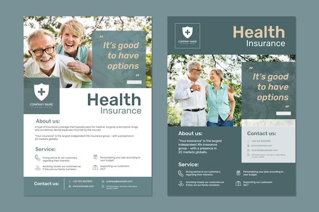 Szablon ubezpieczenia zdrowotnego psd z edytowalnym zestawem tekstów