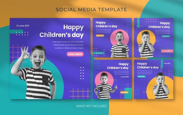 Szablon układu banera na dzień dziecka w mediach społecznościowych