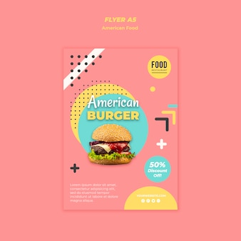 Szablon ulotki amerykańskie jedzenie z burger