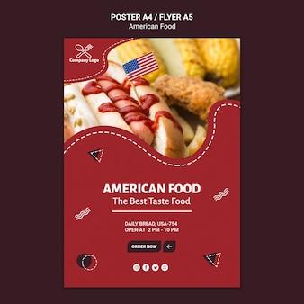 Szablon ulotki amerykańskie jedzenie