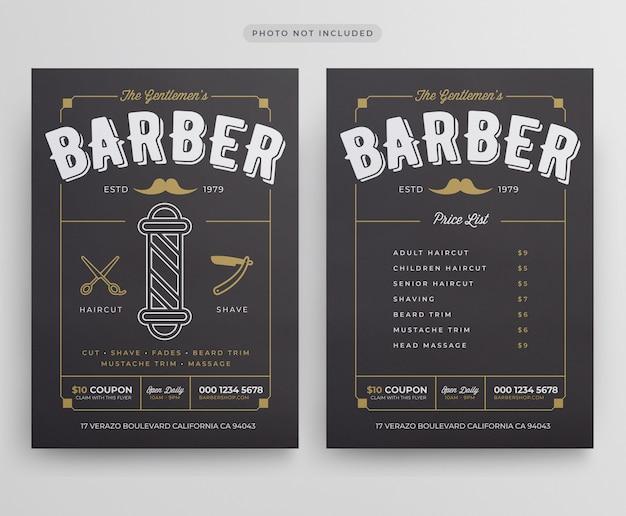Szablon ulotki barber shop