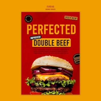 Szablon ulotki burger grunge