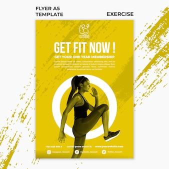Szablon ulotki ćwiczeń fitness