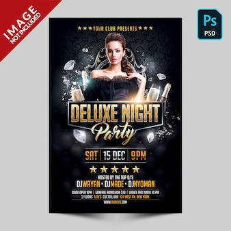 Szablon ulotki deluxe night party photoshop