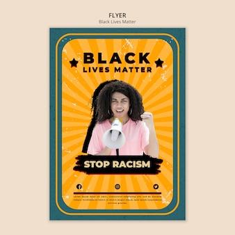 Szablon ulotki dla czarnego życia ma znaczenie