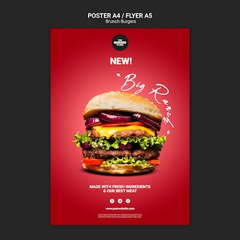 Szablon ulotki dla restauracji burger