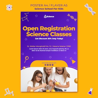 Szablon ulotki dla szkoły naukowej dla dzieci