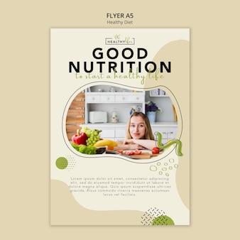 Szablon ulotki dla zdrowego odżywiania