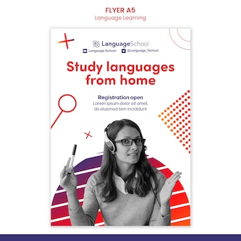 Szablon ulotki do nauki języków