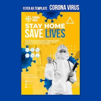 Szablon ulotki dotyczącej pandemii koronawirusa