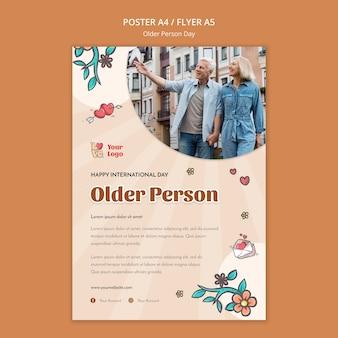 Szablon ulotki dotyczący pomocy i opieki nad osobami starszymi