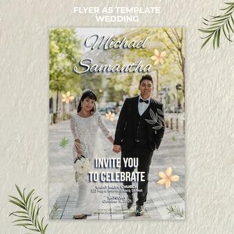 Szablon ulotki elegancki ślub
