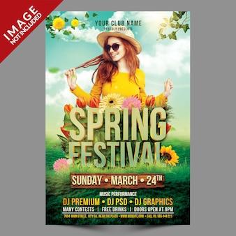 Szablon ulotki festiwal wiosny