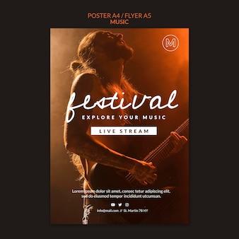 Szablon ulotki festiwalu muzycznego