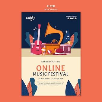 Szablon ulotki festiwalu muzyki online