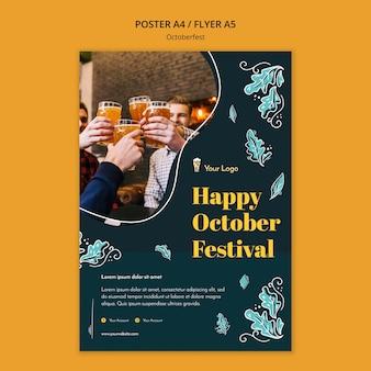 Szablon ulotki festiwalu oktoberfest