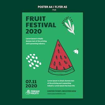 Szablon ulotki festiwalu owoców