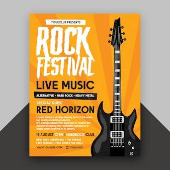 Szablon ulotki festiwalu rockowego