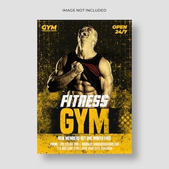 Szablon ulotki i plakatu fitness na siłowni
