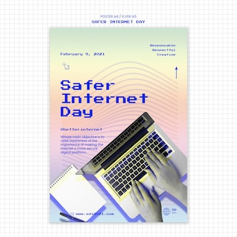 Szablon ulotki informujący o bezpieczniejszym dniu w internecie