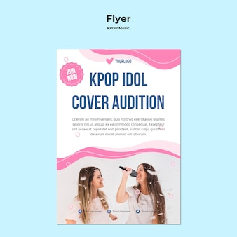 Szablon ulotki k-pop ze zdjęciem śpiewających dziewczyn
