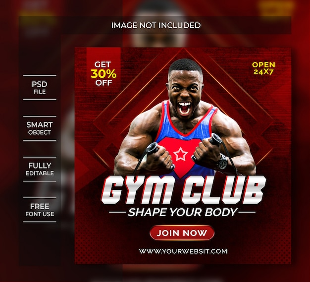 Szablon ulotki klubu siłowni lub post w mediach społecznościowych