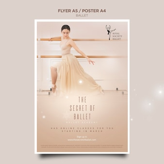 Szablon ulotki koncepcja baleriny