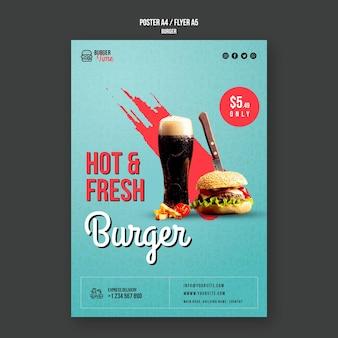 Szablon ulotki koncepcja burger