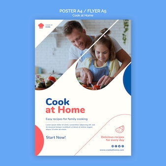 Szablon ulotki koncepcja gotować w domu