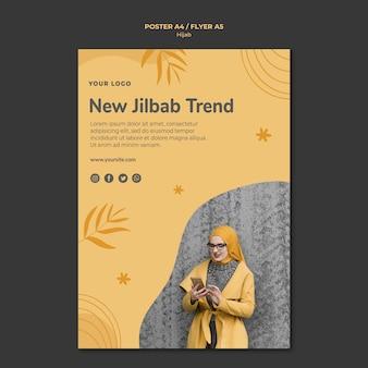 Szablon ulotki koncepcja hidżabu
