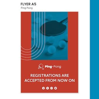 Szablon ulotki koncepcja ping ponga