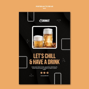 Szablon ulotki koncepcja piwa