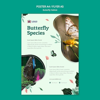 Szablon ulotki koncepcja siedliska motyla
