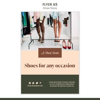 Szablon ulotki koncepcja sklepu obuwniczego