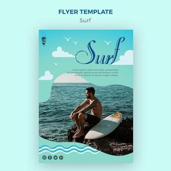 Szablon ulotki koncepcja surfowania