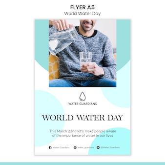 Szablon ulotki koncepcja światowego dnia wody
